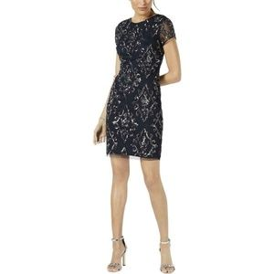 Adrianna Papell 8P Navy Sequined Dress  7AX16